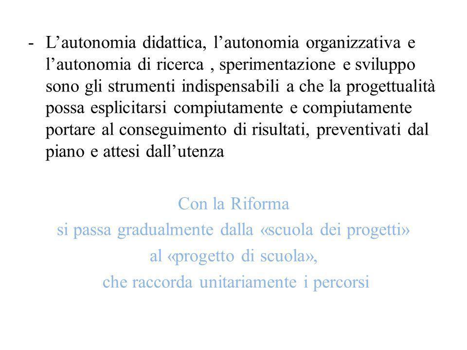-Lautonomia didattica, lautonomia organizzativa e lautonomia di ricerca, sperimentazione e sviluppo sono gli strumenti indispensabili a che la progett