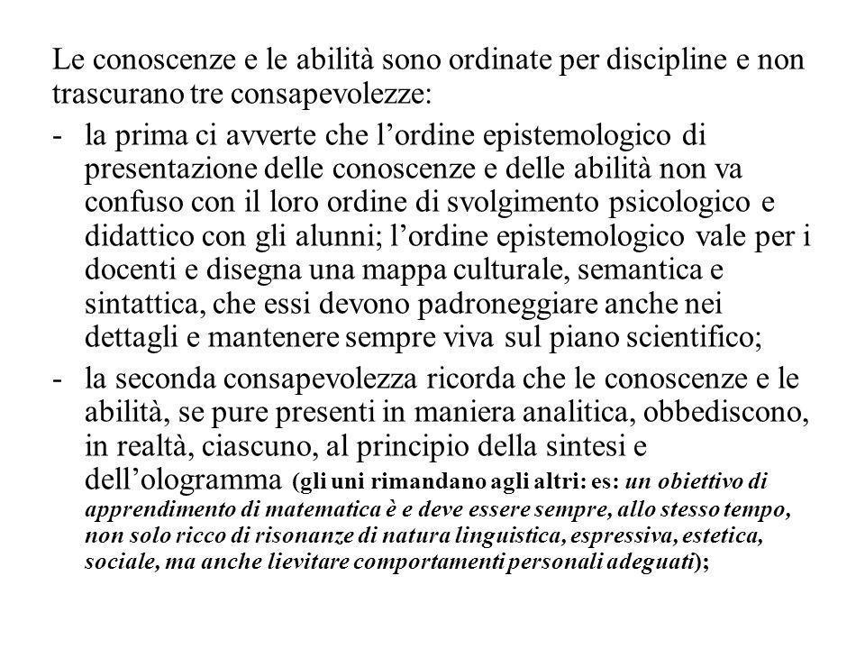 Le conoscenze e le abilità sono ordinate per discipline e non trascurano tre consapevolezze: -la prima ci avverte che lordine epistemologico di presen