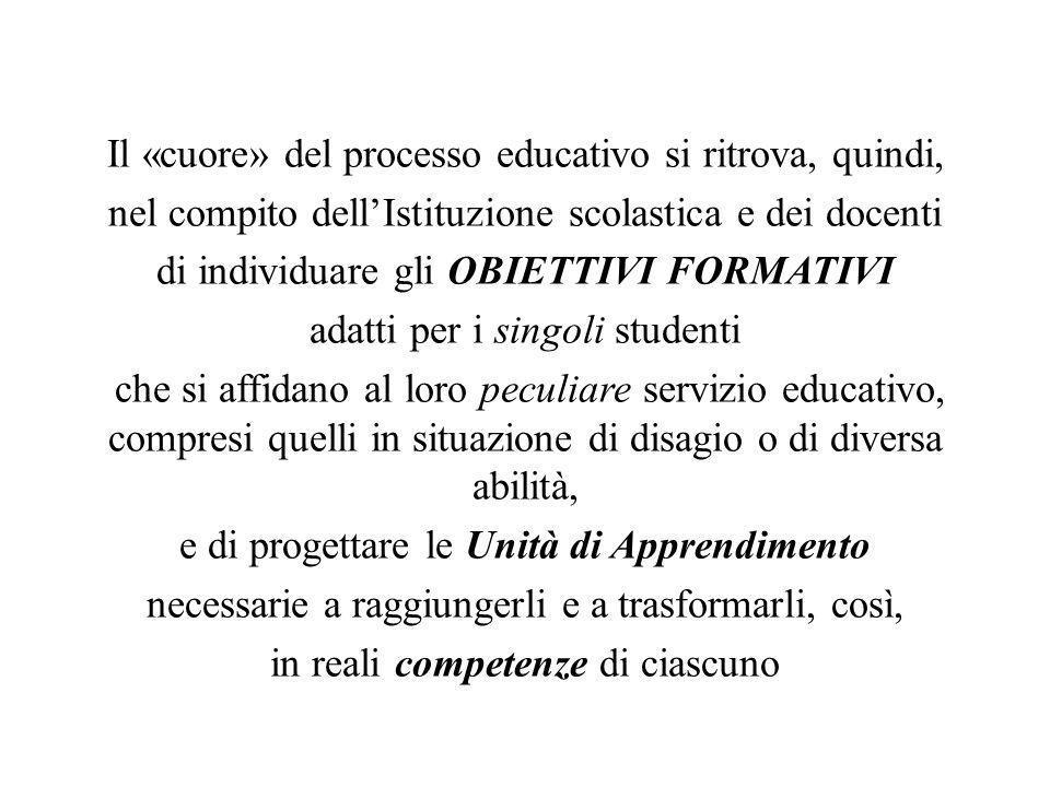 Il «cuore» del processo educativo si ritrova, quindi, nel compito dellIstituzione scolastica e dei docenti di individuare gli OBIETTIVI FORMATIVI adat