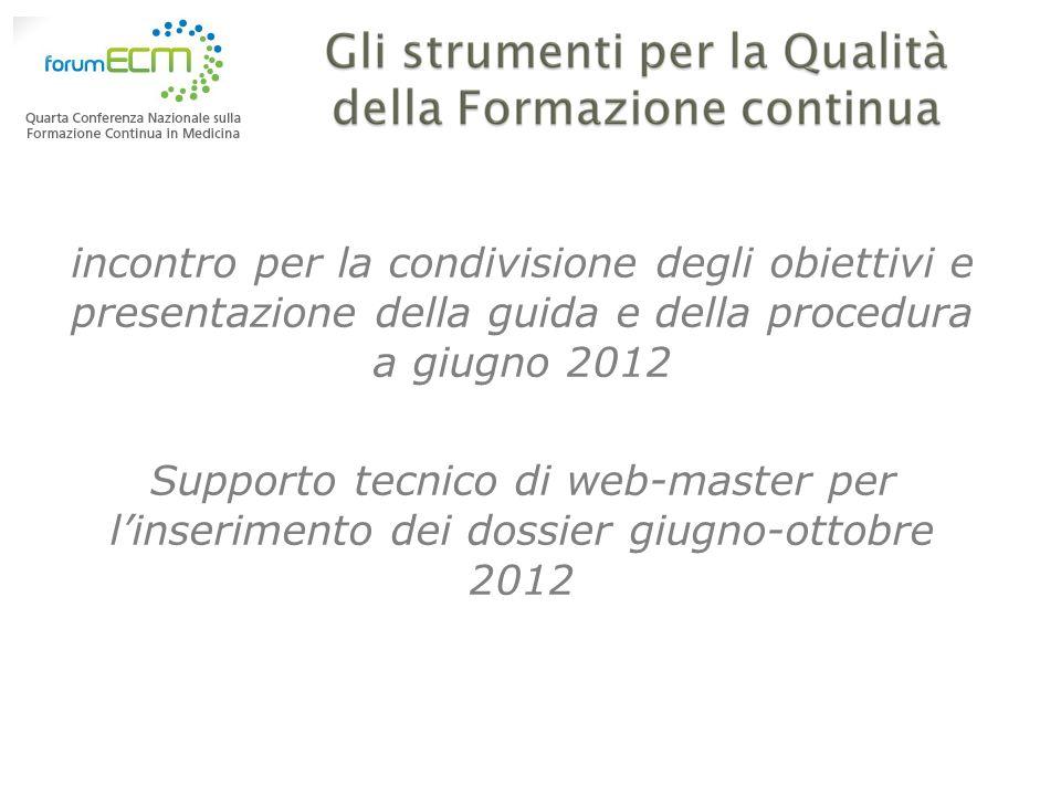 incontro per la condivisione degli obiettivi e presentazione della guida e della procedura a giugno 2012 Supporto tecnico di web-master per linserimen