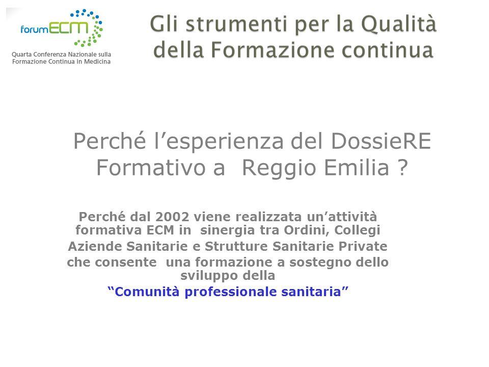 Perché lesperienza del DossieRE Formativo a Reggio Emilia ? Perché dal 2002 viene realizzata unattività formativa ECM in sinergia tra Ordini, Collegi