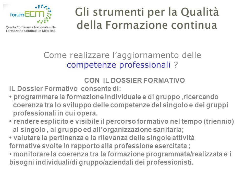 Come realizzare laggiornamento delle competenze professionali ? CON IL DOSSIER FORMATIVO IL Dossier Formativo consente di: programmare la formazione i