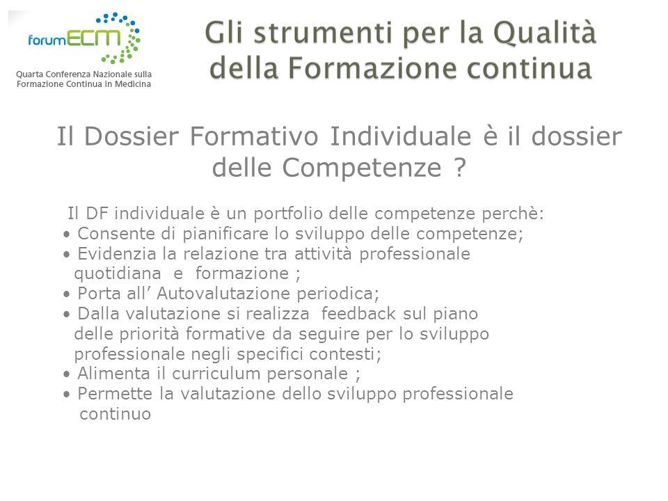 Il Dossier Formativo Individuale è il dossier delle Competenze ? Il DF individuale è un portfolio delle competenze perchè: Consente di pianificare lo