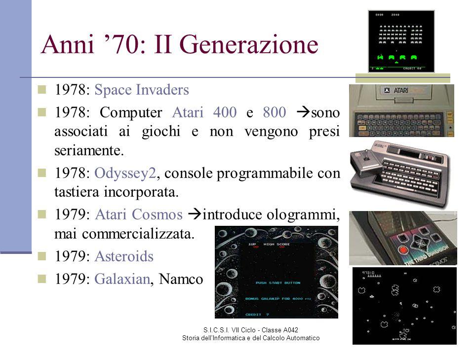 S.I.C.S.I. VII Ciclo - Classe A042 Storia dell'Informatica e del Calcolo Automatico Anni 70: II Generazione 1978: Space Invaders 1978: Computer Atari