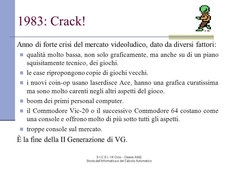 S.I.C.S.I. VII Ciclo - Classe A042 Storia dell'Informatica e del Calcolo Automatico 1983: Crack! Anno di forte crisi del mercato videoludico, dato da