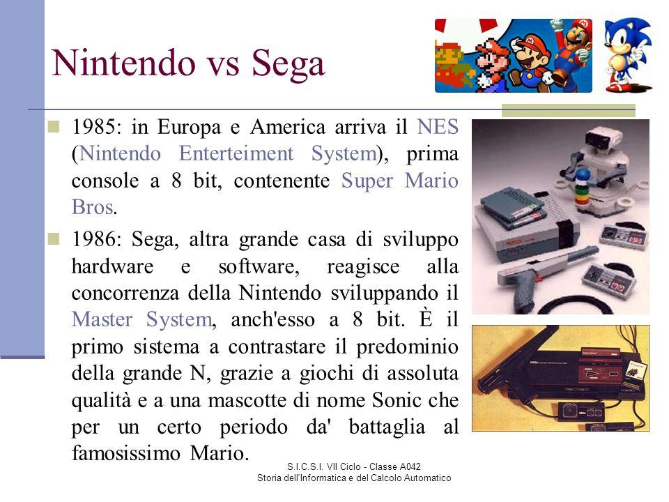 S.I.C.S.I. VII Ciclo - Classe A042 Storia dell'Informatica e del Calcolo Automatico Nintendo vs Sega 1985: in Europa e America arriva il NES (Nintendo