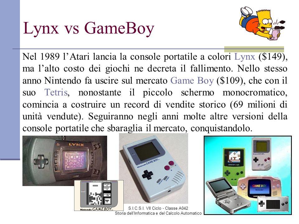 S.I.C.S.I. VII Ciclo - Classe A042 Storia dell'Informatica e del Calcolo Automatico Lynx vs GameBoy Nel 1989 lAtari lancia la console portatile a colo