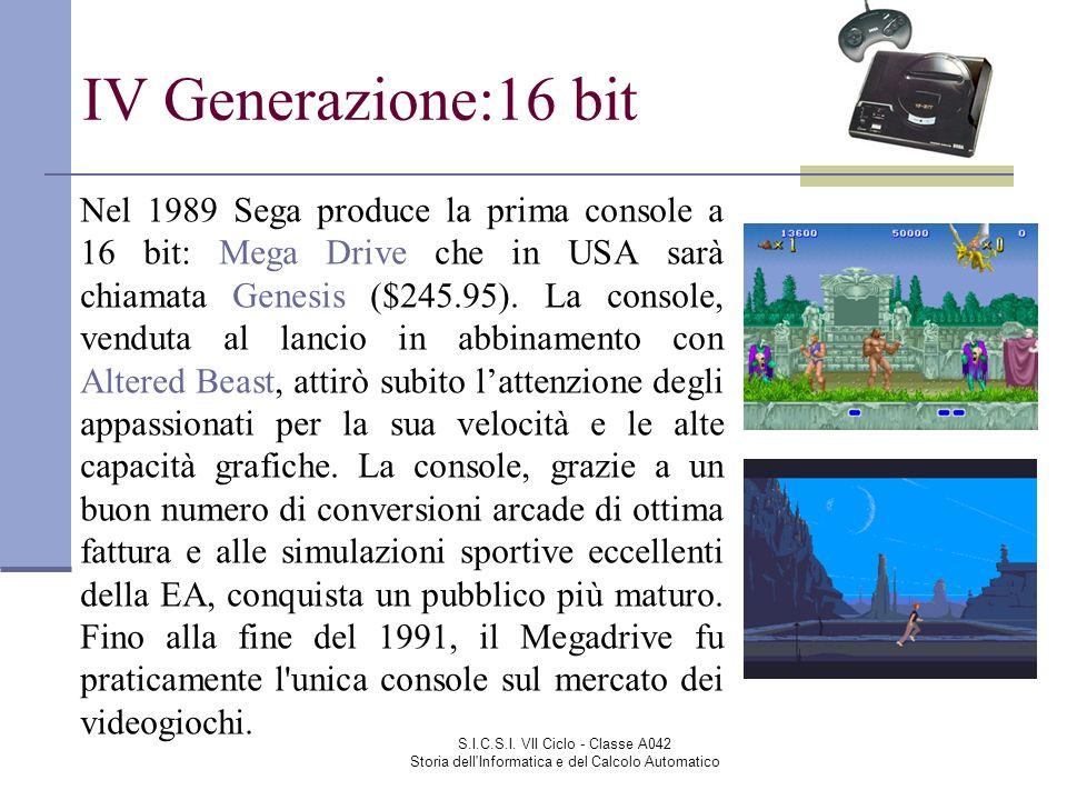S.I.C.S.I. VII Ciclo - Classe A042 Storia dell'Informatica e del Calcolo Automatico IV Generazione:16 bit Nel 1989 Sega produce la prima console a 16
