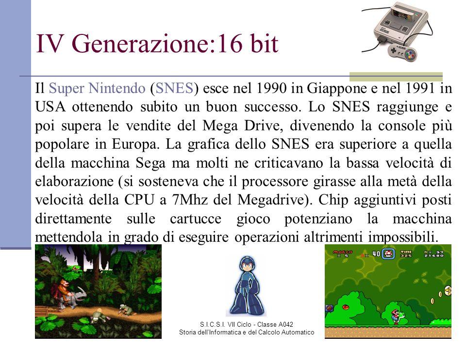 S.I.C.S.I. VII Ciclo - Classe A042 Storia dell'Informatica e del Calcolo Automatico IV Generazione:16 bit Il Super Nintendo (SNES) esce nel 1990 in Gi
