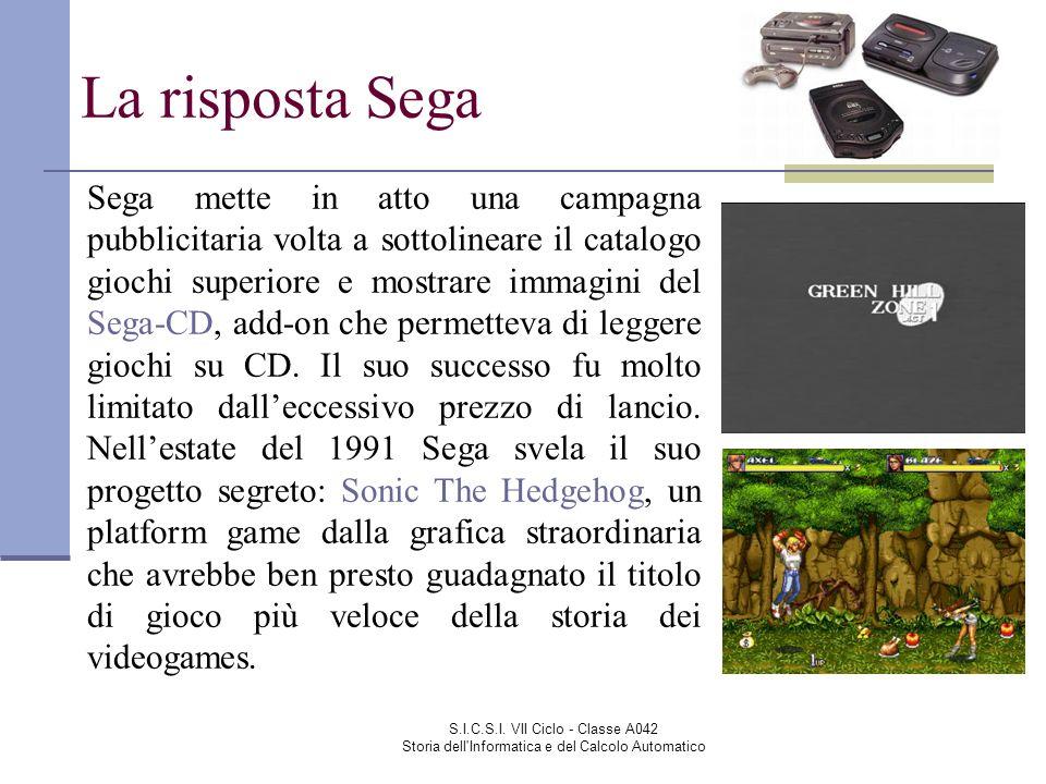 S.I.C.S.I. VII Ciclo - Classe A042 Storia dell'Informatica e del Calcolo Automatico La risposta Sega Sega mette in atto una campagna pubblicitaria vol
