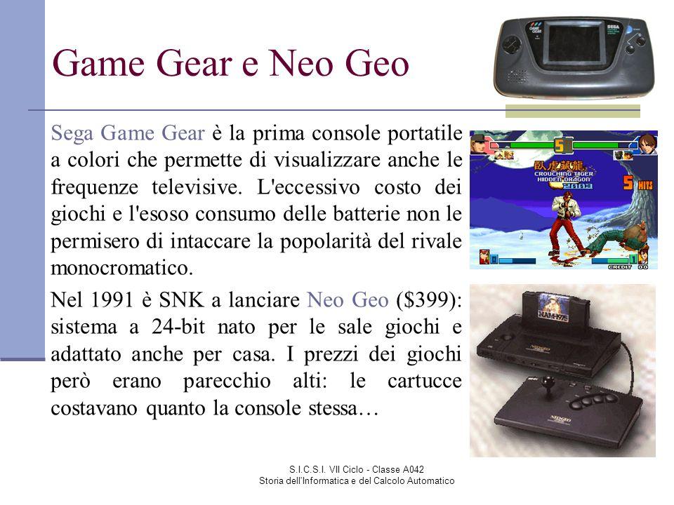 S.I.C.S.I. VII Ciclo - Classe A042 Storia dell'Informatica e del Calcolo Automatico Game Gear e Neo Geo Sega Game Gear è la prima console portatile a