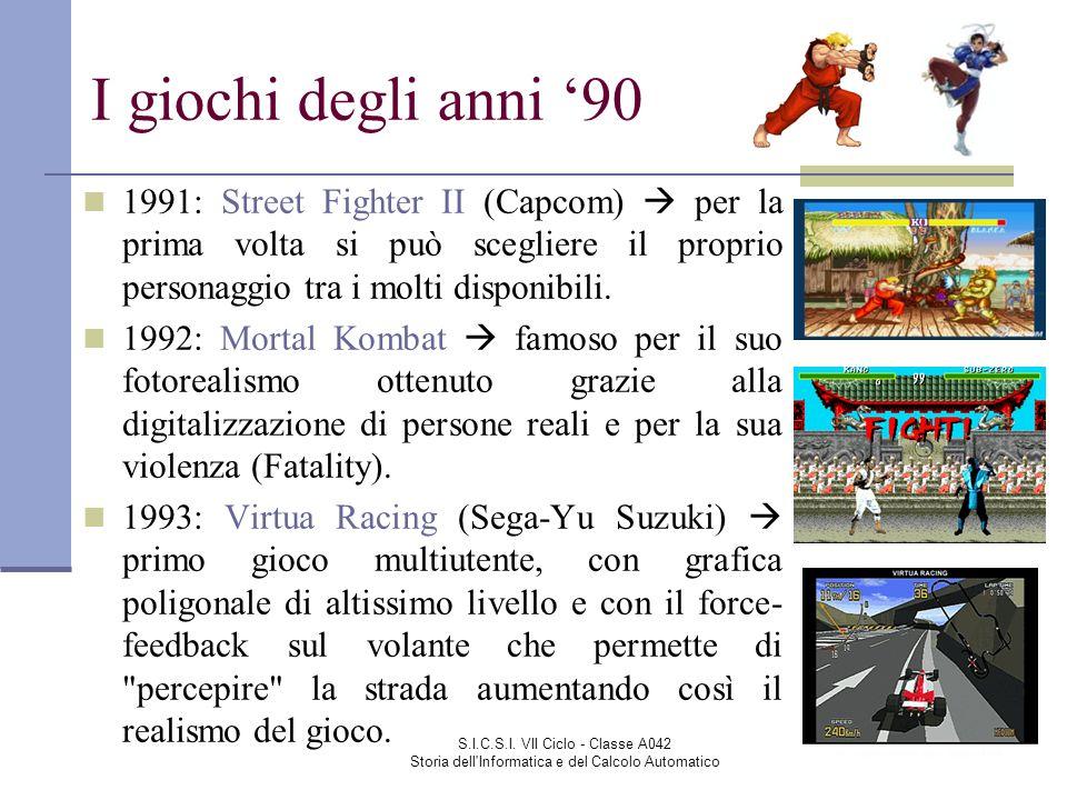S.I.C.S.I. VII Ciclo - Classe A042 Storia dell'Informatica e del Calcolo Automatico I giochi degli anni 90 1991: Street Fighter II (Capcom) per la pri