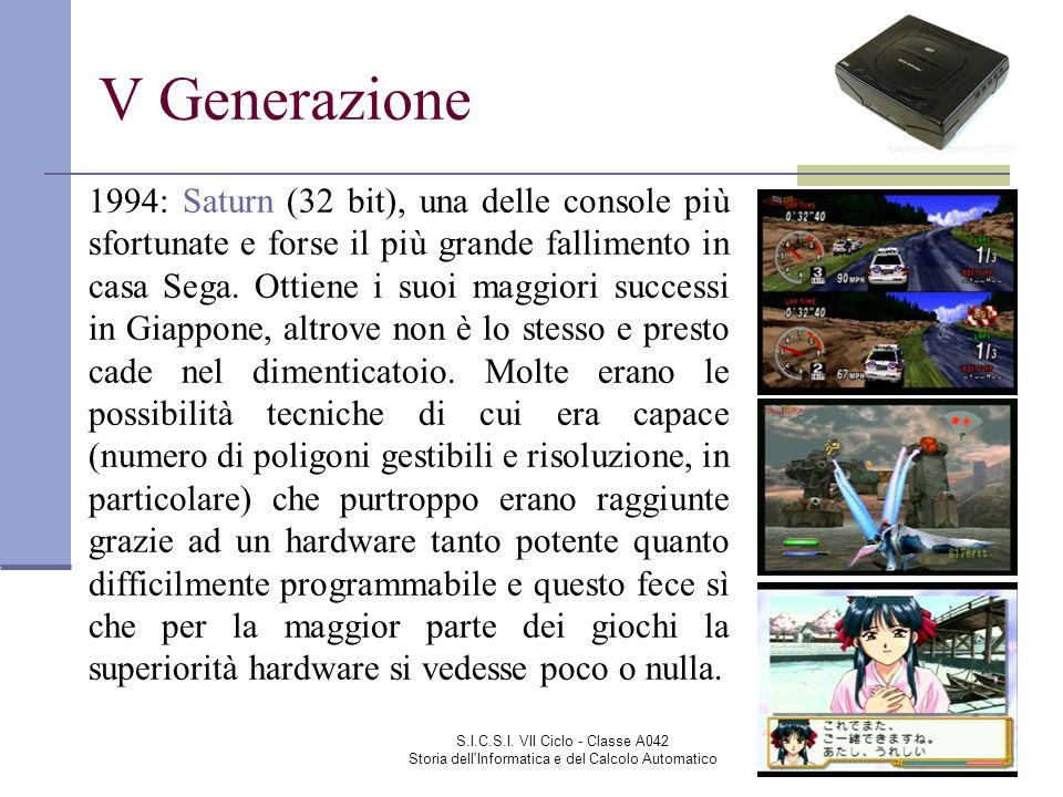 S.I.C.S.I. VII Ciclo - Classe A042 Storia dell'Informatica e del Calcolo Automatico V Generazione 1994: Saturn (32 bit), una delle console più sfortun