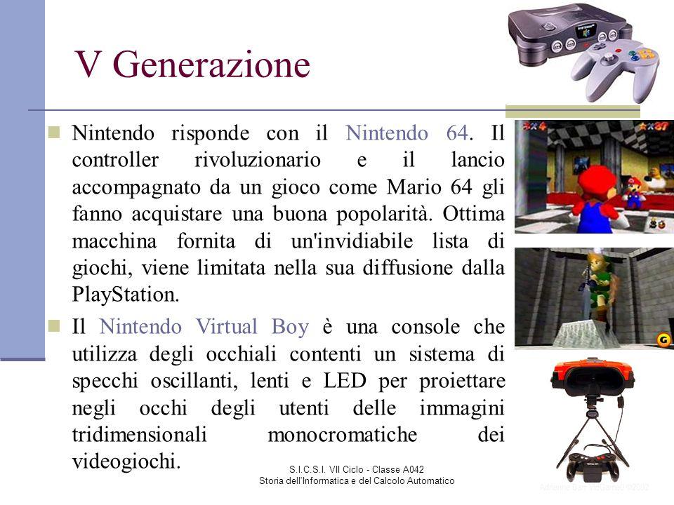 S.I.C.S.I. VII Ciclo - Classe A042 Storia dell'Informatica e del Calcolo Automatico V Generazione Nintendo risponde con il Nintendo 64. Il controller