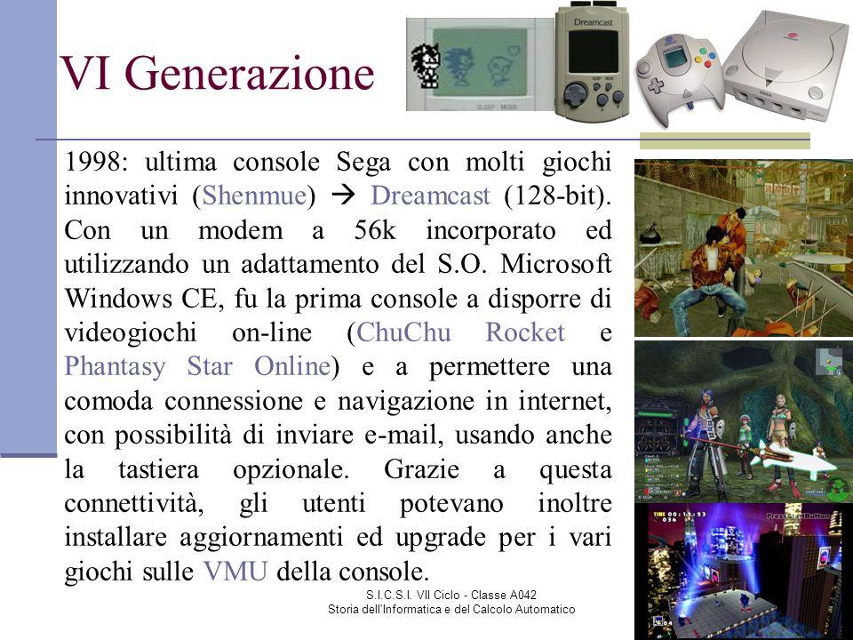 S.I.C.S.I. VII Ciclo - Classe A042 Storia dell'Informatica e del Calcolo Automatico VI Generazione 1998: ultima console Sega con molti giochi innovati
