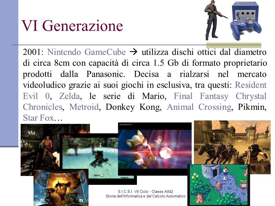 S.I.C.S.I. VII Ciclo - Classe A042 Storia dell'Informatica e del Calcolo Automatico VI Generazione 2001: Nintendo GameCube utilizza dischi ottici dal