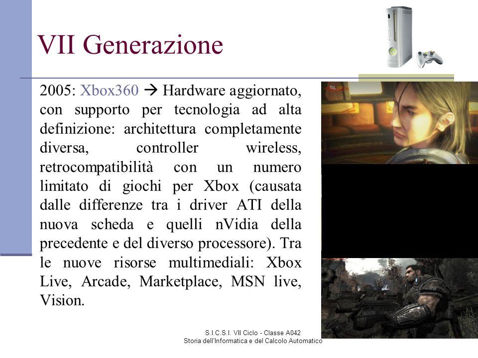 S.I.C.S.I. VII Ciclo - Classe A042 Storia dell'Informatica e del Calcolo Automatico VII Generazione 2005: Xbox360 Hardware aggiornato, con supporto pe