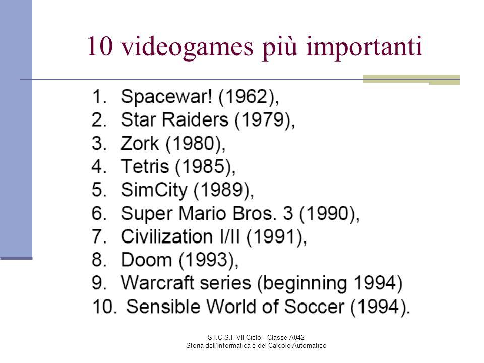 S.I.C.S.I. VII Ciclo - Classe A042 Storia dell'Informatica e del Calcolo Automatico 10 videogames più importanti