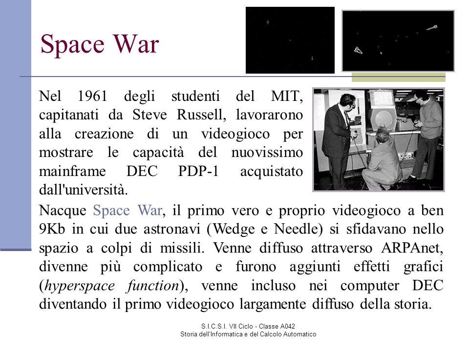 S.I.C.S.I. VII Ciclo - Classe A042 Storia dell'Informatica e del Calcolo Automatico Space War Nel 1961 degli studenti del MIT, capitanati da Steve Rus