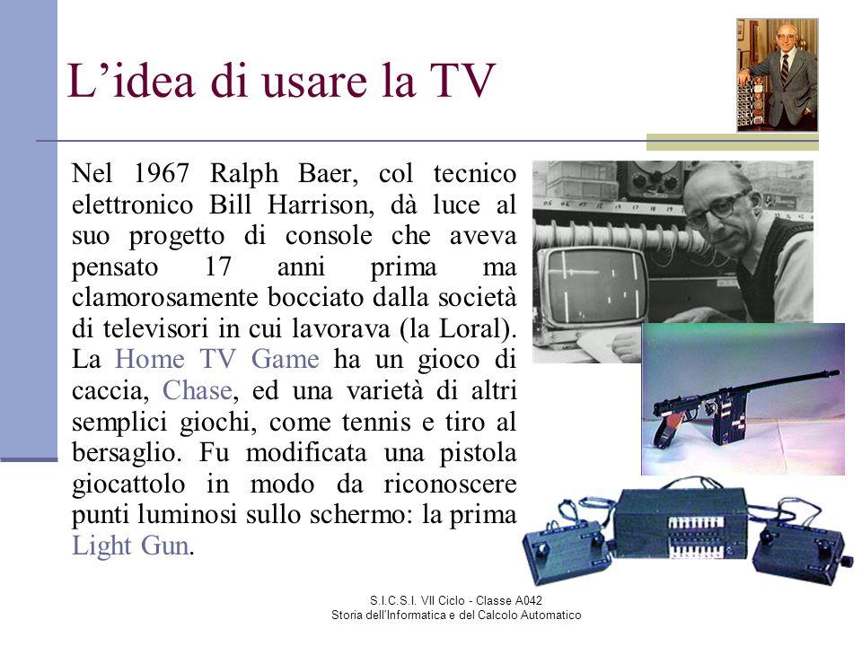 S.I.C.S.I. VII Ciclo - Classe A042 Storia dell'Informatica e del Calcolo Automatico Nel 1967 Ralph Baer, col tecnico elettronico Bill Harrison, dà luc