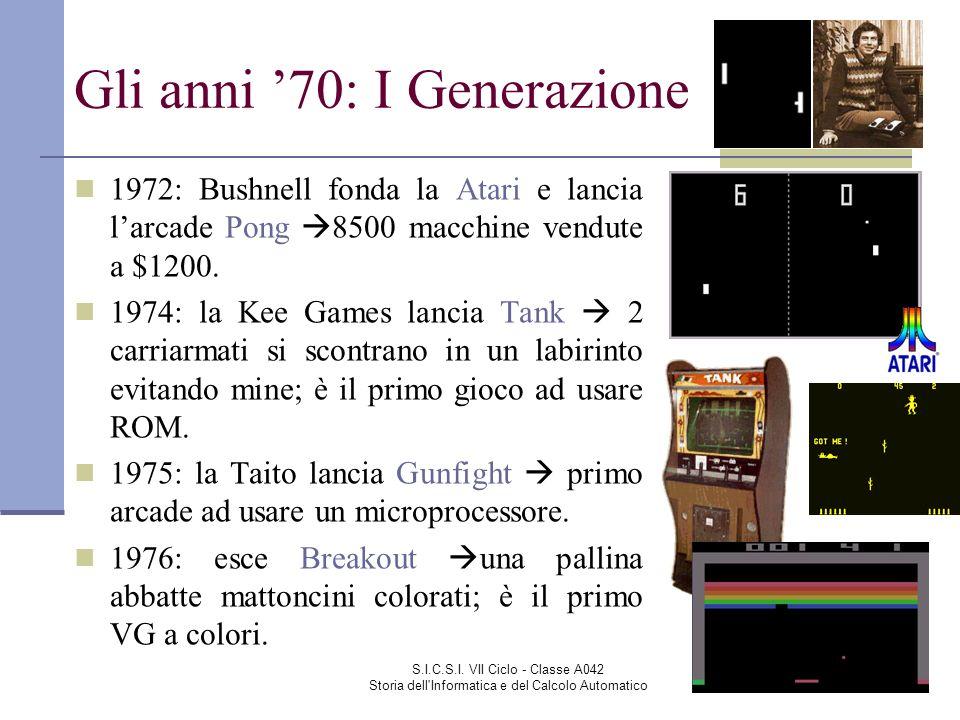 S.I.C.S.I. VII Ciclo - Classe A042 Storia dell'Informatica e del Calcolo Automatico Gli anni 70: I Generazione 1972: Bushnell fonda la Atari e lancia