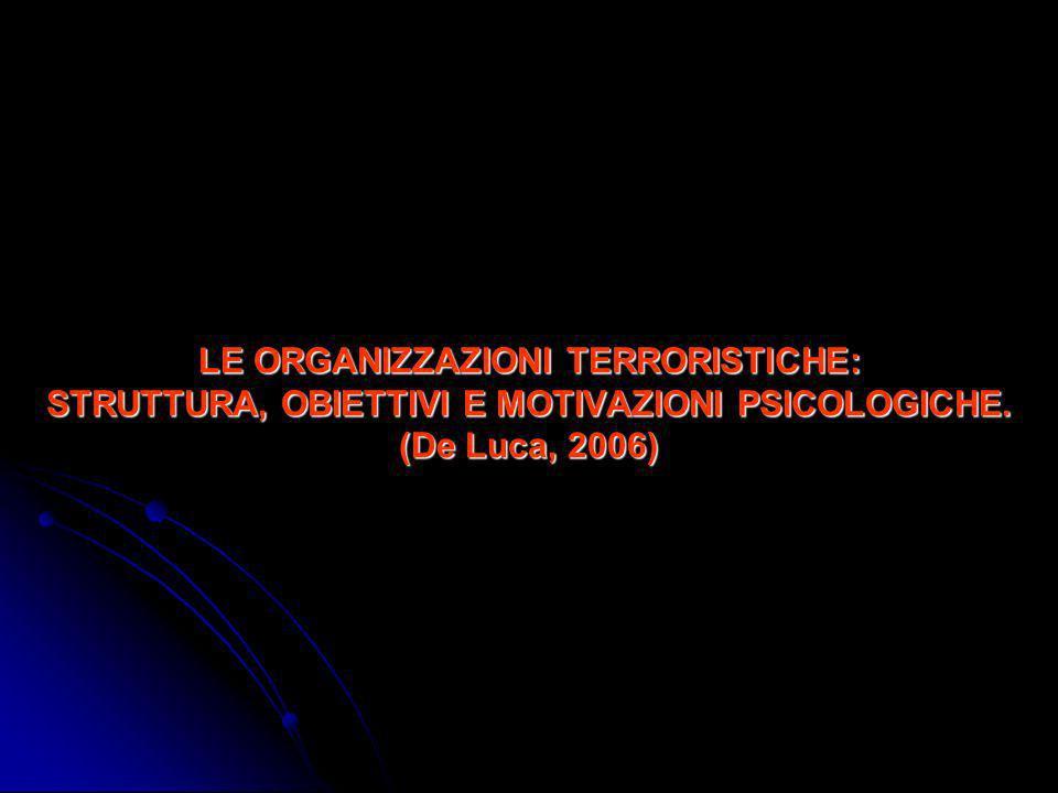 DEFINIZIONE DI TERRORISMO (Pisano, 1997) Il terrorismo è una forma di violenza criminale a fini politici esercitata attraverso strutture e modalità clandestine.