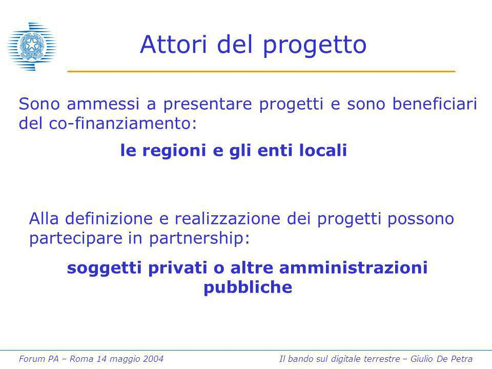 Forum PA – Roma 14 maggio 2004 Il bando sul digitale terrestre – Giulio De Petra Attori del progetto Sono ammessi a presentare progetti e sono benefic