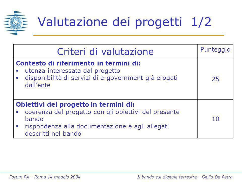 Forum PA – Roma 14 maggio 2004 Il bando sul digitale terrestre – Giulio De Petra Valutazione dei progetti 1/2 Criteri di valutazione Punteggio Contest
