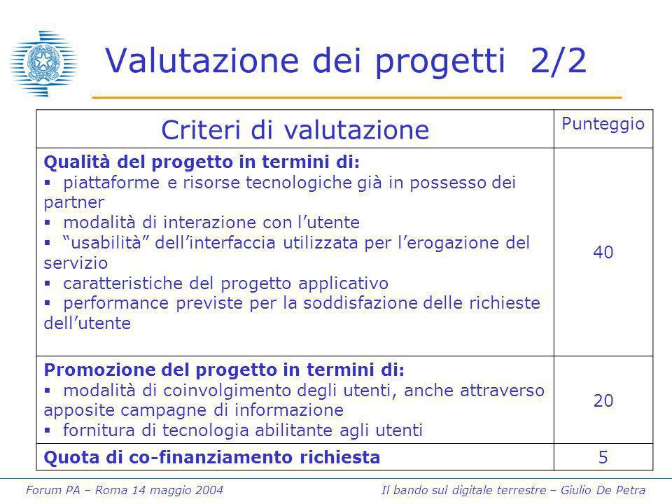 Forum PA – Roma 14 maggio 2004 Il bando sul digitale terrestre – Giulio De Petra Valutazione dei progetti 2/2 Criteri di valutazione Punteggio Qualità