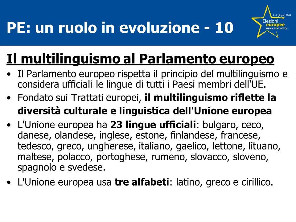 PE: un ruolo in evoluzione - 10 Il multilinguismo al Parlamento europeo Il Parlamento europeo rispetta il principio del multilinguismo e considera ufficiali le lingue di tutti i Paesi membri dell UE.