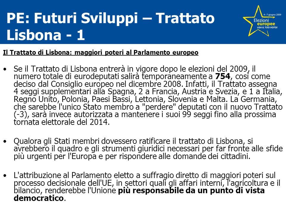 PE: Futuri Sviluppi – Trattato Lisbona - 1 Il Trattato di Lisbona: maggiori poteri al Parlamento europeo Se il Trattato di Lisbona entrerà in vigore dopo le elezioni del 2009, il numero totale di eurodeputati salirà temporaneamente a 754, così come deciso dal Consiglio europeo nel dicembre 2008.