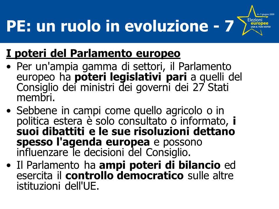 PE: un ruolo in evoluzione - 7 I poteri del Parlamento europeo Per un ampia gamma di settori, il Parlamento europeo ha poteri legislativi pari a quelli del Consiglio dei ministri dei governi dei 27 Stati membri.