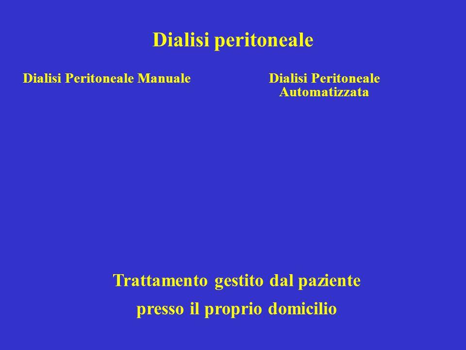 Dialisi peritoneale Trattamento gestito dal paziente presso il proprio domicilio Dialisi Peritoneale ManualeDialisi Peritoneale Automatizzata