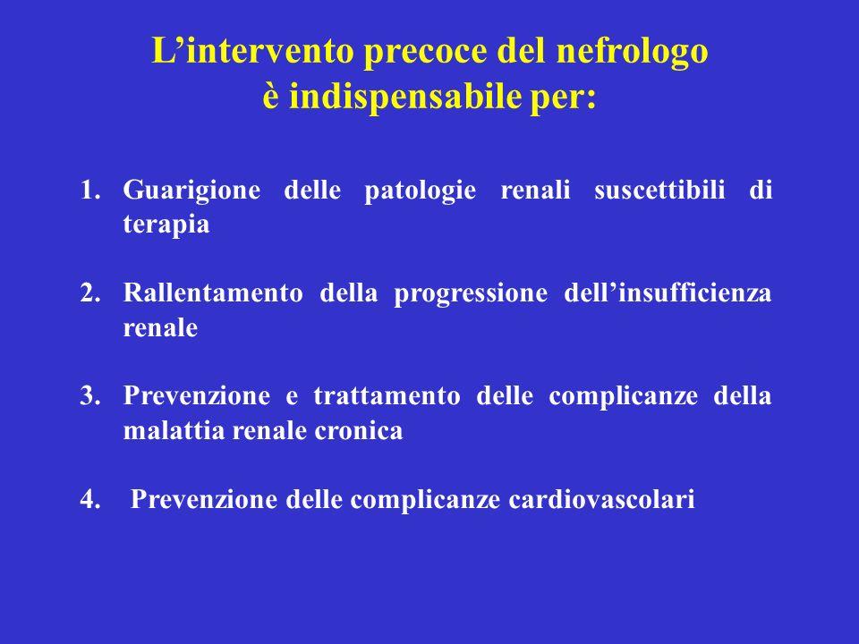 1.Guarigione delle patologie renali suscettibili di terapia 2.Rallentamento della progressione dellinsufficienza renale 3.Prevenzione e trattamento de