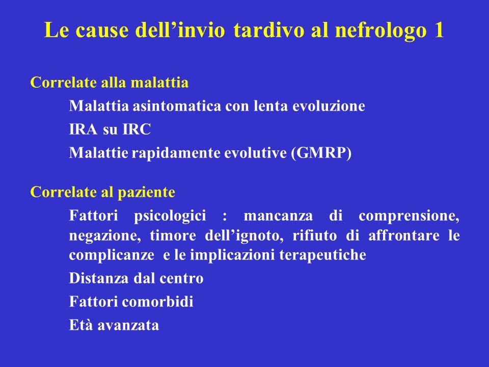 Le cause dellinvio tardivo al nefrologo 1 Correlate alla malattia Malattia asintomatica con lenta evoluzione IRA su IRC Malattie rapidamente evolutive