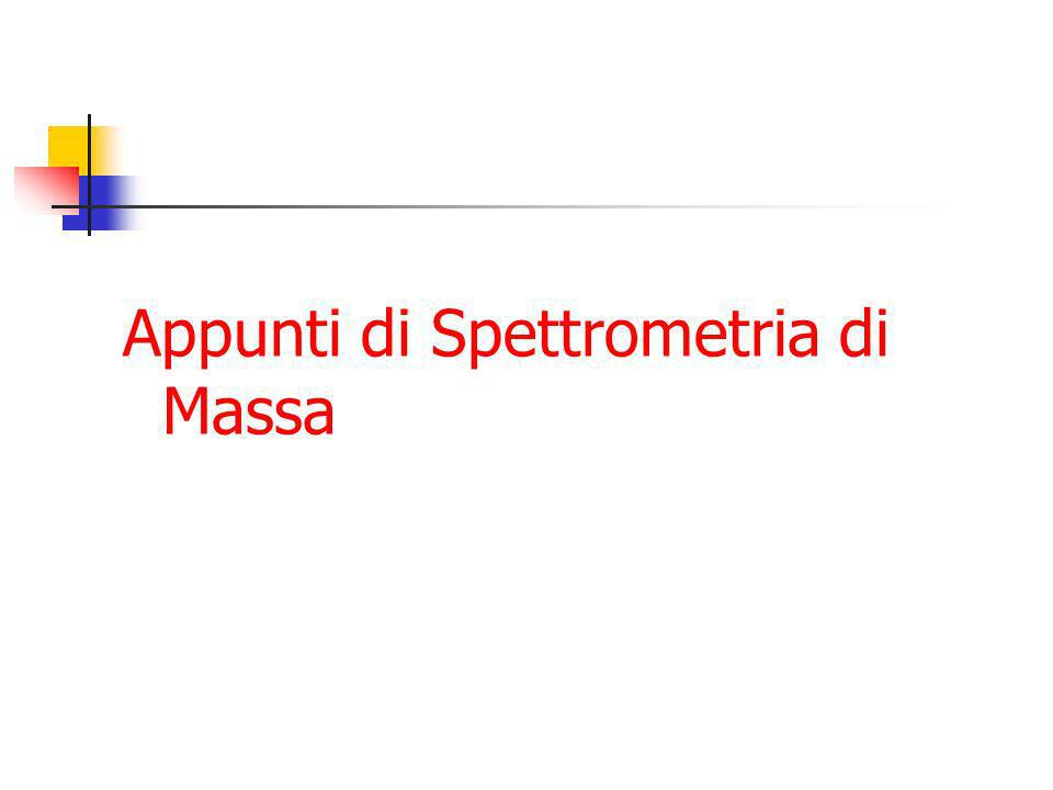 Spettrometria di massa MALDI API IonSpray APCI EI CI Inlet Ion source Mass Filter Detector Data System High Vacuum System Turbo pumps Diffusion Pumps Rough pumps Rotary pumps Sample plate HPLC GC Solids probe Quadrupole TOF Ion Trap Magnetic Sector Electron MultiplierPC & Windows NT
