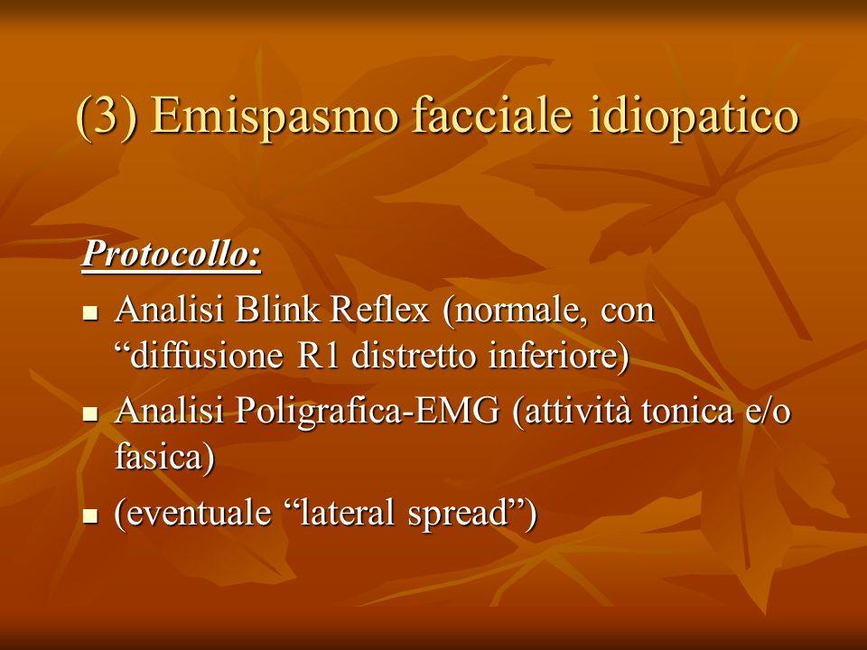 (3) Emispasmo facciale idiopatico Protocollo: Analisi Blink Reflex (normale, con diffusione R1 distretto inferiore) Analisi Blink Reflex (normale, con diffusione R1 distretto inferiore) Analisi Poligrafica-EMG (attività tonica e/o fasica) Analisi Poligrafica-EMG (attività tonica e/o fasica) (eventuale lateral spread) (eventuale lateral spread)