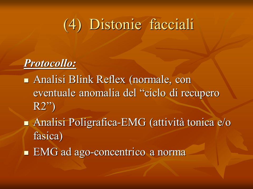 (4) Distonie facciali (4) Distonie facciali Protocollo: Analisi Blink Reflex (normale, con eventuale anomalia del ciclo di recupero R2) Analisi Blink Reflex (normale, con eventuale anomalia del ciclo di recupero R2) Analisi Poligrafica-EMG (attività tonica e/o fasica) Analisi Poligrafica-EMG (attività tonica e/o fasica) EMG ad ago-concentrico a norma EMG ad ago-concentrico a norma