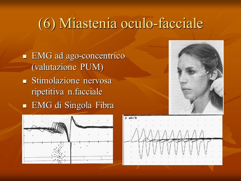 (6) Miastenia oculo-facciale EMG ad ago-concentrico (valutazione PUM) EMG ad ago-concentrico (valutazione PUM) Stimolazione nervosa ripetitiva n.facciale Stimolazione nervosa ripetitiva n.facciale EMG di Singola Fibra EMG di Singola Fibra