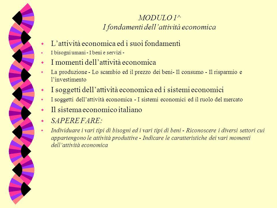 I MODULO 1^ I fondamenti dellattività economica w Lattività economica ed i suoi fondamenti w I bisogni umani - I beni e servizi - w I momenti dellatti