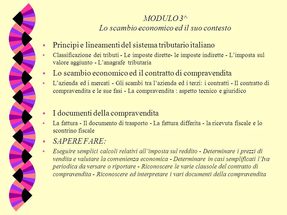 I MODULO 3^ Lo scambio economico ed il suo contesto w Principi e lineamenti del sistema tributario italiano w Classificazione dei tributi - Le imposte