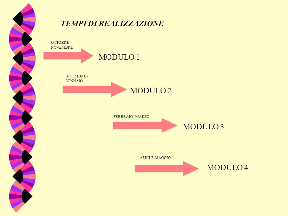 TEMPI DI REALIZZAZIONE MODULO 1 MODULO 2 MODULO 3 MODULO 4 OTTOBRE - NOVEMBRE DICEMBRE - GENNAIO FEBBRAIO -MARZO APRILE-MAGGIO
