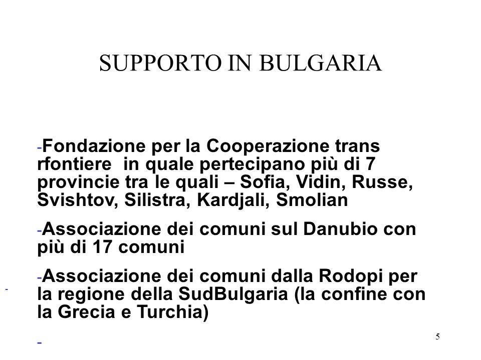 5 - SUPPORTO IN BULGARIA - Fondazione per la Cooperazione trans rfontiere in quale pertecipano più di 7 provincie tra le quali – Sofia, Vidin, Russe,