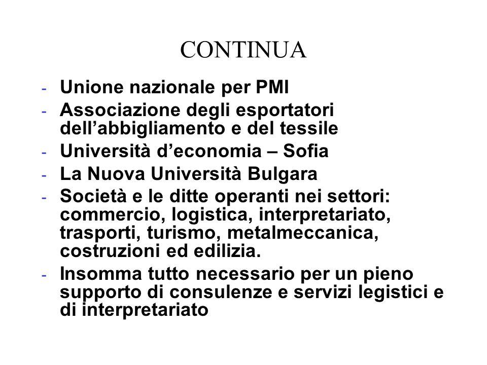 CONTINUA - Unione nazionale per PMI - Associazione degli esportatori dellabbigliamento e del tessile - Università deconomia – Sofia - La Nuova Univers