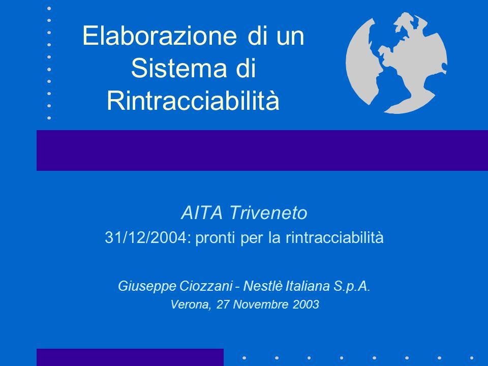 Elaborazione di un Sistema di Rintracciabilità AITA Triveneto 31/12/2004: pronti per la rintracciabilità Giuseppe Ciozzani - Nestlè Italiana S.p.A.