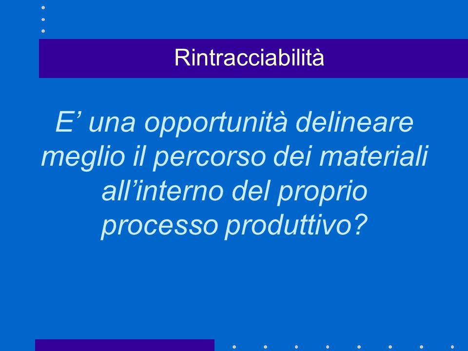 E una opportunità delineare meglio il percorso dei materiali allinterno del proprio processo produttivo.