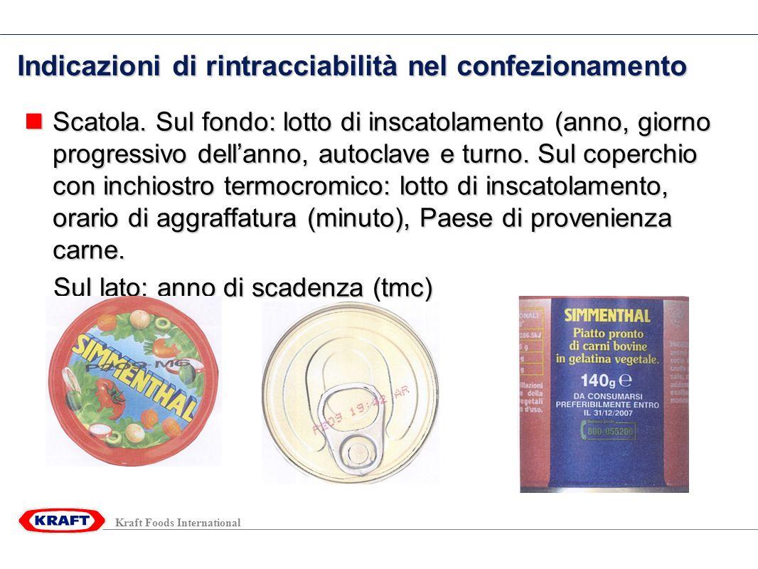 Kraft Foods International Indicazioni di rintracciabilità nel confezionamento Scatola.