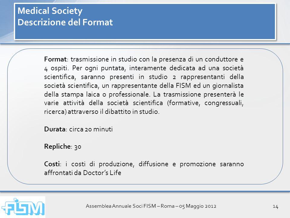 Assemblea Annuale Soci FISM – Roma – 05 Maggio 201214 Medical Society Descrizione del Format Medical Society Descrizione del Format Format: trasmissione in studio con la presenza di un conduttore e 4 ospiti.