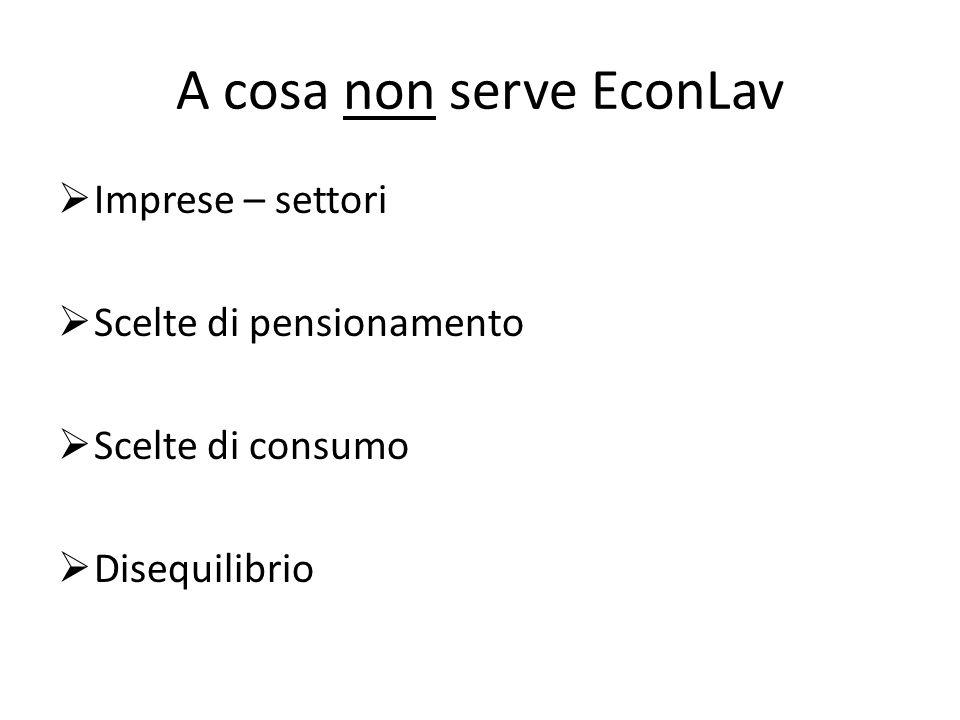A cosa non serve EconLav Imprese – settori Scelte di pensionamento Scelte di consumo Disequilibrio
