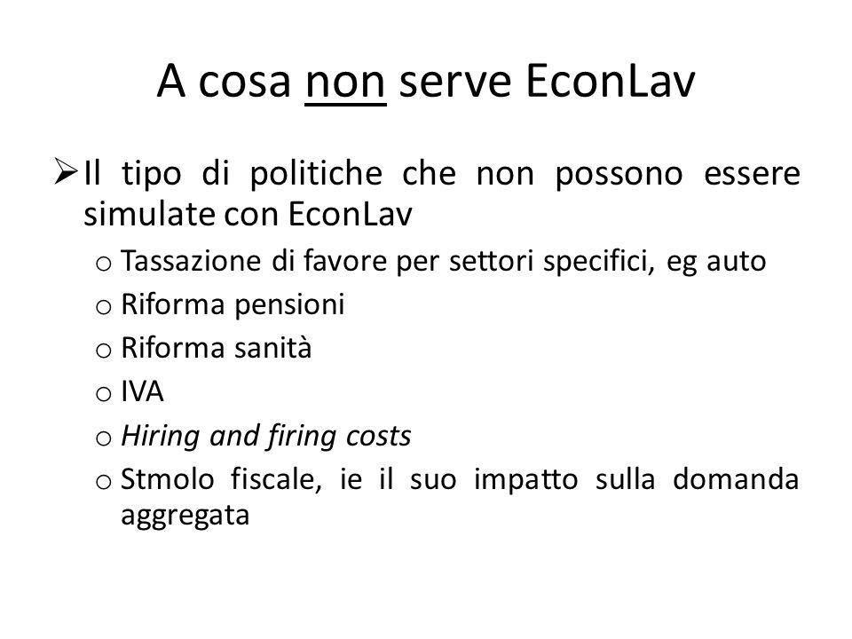 A cosa non serve EconLav Il tipo di politiche che non possono essere simulate con EconLav o Tassazione di favore per settori specifici, eg auto o Rifo
